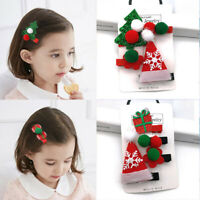 2/4PCS/set Cute Christmas Hair Clip Santa Claus Hairpin Baby Girl Headdress Gift