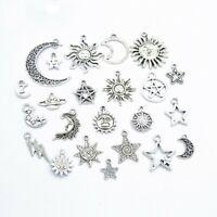 23 Pcs Mix Styles Star Moon Sun Planet Charm Tibet Silver Pendant Bracelet DIY
