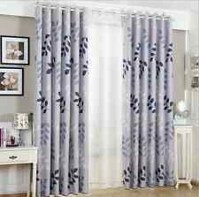2 x Blockout Eyelet Curtains Country Style Leaves Light Grey 300cm x 230cm -Pair