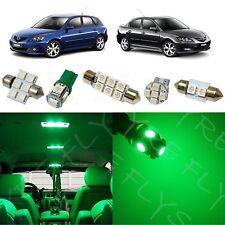 7x Green LED lights interior package kit for 2004-2009 Mazda 3 MT2G