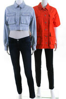 BDG  Womens Jules Puff Sleeve Cropped Jacket Blue Orange Size Small LOT 2