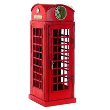 41CM Handmade Antique London Phone Booth Tin Metal Reproduction Model Collection