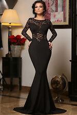 Black Lace Mermaid Long Sleeve Cocktail Evening Prom Dress Size L UK 12