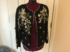 CAROLINA COLOURS LADIES SIZE M  BUTTON UP SWEATER BLACK MULTI-COLOR FLORAL