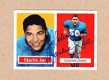 Charlie Ane signed 1957 Topps Archives reprint card #56-Detroit Lions (Dec)