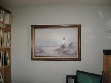 SIGNED OIL PAINTING CANVAS NEW ENGLAND LIGHTHOUSE 30 x 43 CAPE COD ISLANDS LARGE