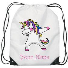 Personalised Unicorn Dabbing Gym Bag PE Dance Sports School Swim Bag Waterproof