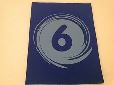 """Neoprene Sewing Patch Number 6 Swirl Royal Blue Rectangle 8"""" x 6"""" Soft"""