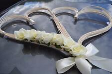 wedding car decoration, ribbon, bows, prom limousine decoration , ivory r hearts