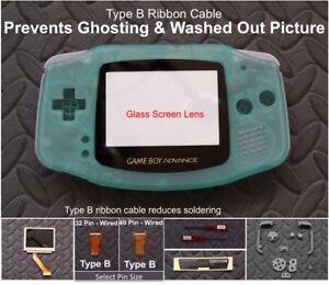 GBA Backlight-Backlit Adapt-AGS101-Mod Kit w/glass lens+Type B- GITD Green