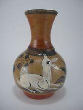 Old Vintage MEXICAN Tonala Burnished White Deer Pottery Signed Vase