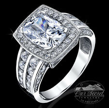 3 ct Radiant Halo Deco Ring Top CZ Sterling Silver Sz 7