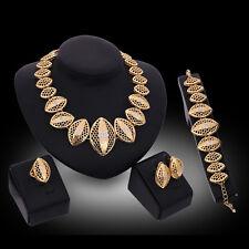 Women 18K Gold Plated Crystal Wedding Necklace Bracelet Earring Ring Jewelry Set