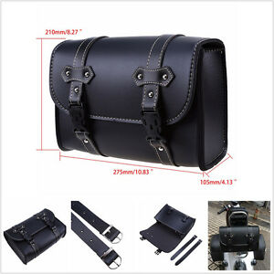 PU Leather Motorcycle Saddle Luggage Side Back Tail Pouch Tool Bag Storage Bag
