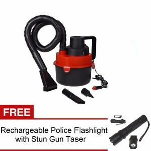 Wet and Dry Portable Car Vacuum Cleaner (Red) with Rechargeable Flashlight