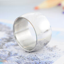 1PC Fashion Stainless Steel 12mm Wide Men Smooth Band Ring Silver Tone US Size 8