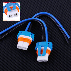2x Ceramic Bulb Socket 9006 HB4 2 Port Holder Adapter Connector w/ Wire Harness