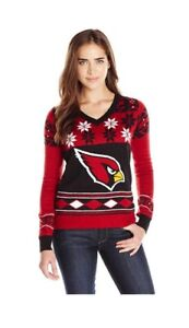 NFL Arizona Cardinals Womens Christmas Party Ugly V Neck Sweater Size XL New