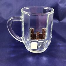 New listing Us Army Corps of Engineers Glass Coffee Mug w/ Pewter Castle