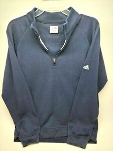 Adidas Womens Sweatshirt Size Medium Navy Blue 1/4 Zip Long Sleeve