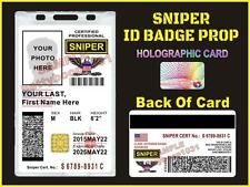 SNIPER ID Badge / Card >>CUSTOMIZABLE<<  US MILITARY CAC STYLE - Paintball Team
