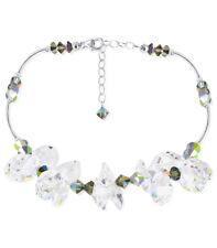 925 Silver Swarovski Elements Clear & Vitrail AB Crystal Necklace 18 inch