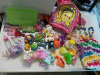 Mixed Girls Toys Figures Junk Drawer Lot Dolls Plush Plastic Toys Box