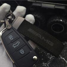 NEW Car AMG Logo Black Matte Leather Keychain Keyring Holder For Mercedes Benz