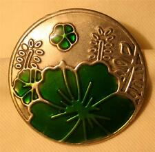 Lovely Green Enameled Sculpt Round Lotus Blossoms Flowers Silvertone Brooch Pin