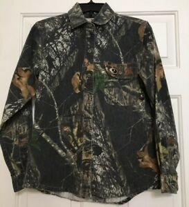 Mossy Oak size S black brown grey camouflage long sleeve button up shirt women's