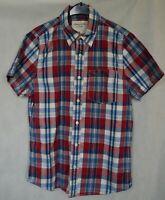 Men's ABERCROMBIE Casual Short Sleeve Check Cotton Shirt Size M Muscle Fit