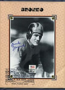 Bronko Nagurski Autograph Chicago Bears 6 Page bio Signed Super Bowl XVIII Stamp