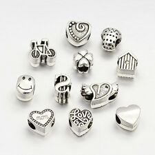 100g Mixed Antique Silver Tibetan Style Large Hole European Beads for Bracelets