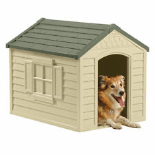 Dog Pet House Outdoor Medium/Large All Weather Durable Shelter Kennel Cage Vinyl