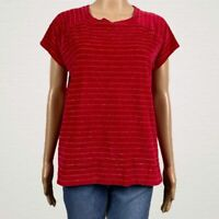 Liz Claiborne Striped Plush Velour Shirt Top MEDIUM Bright Red Gold Metallic
