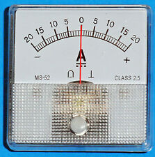 DC Analog Ammeter 20-0-20 Amps DC MS52 type