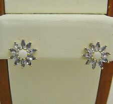 FABULOUS!!! 10K YELLOW GOLD TANZANITE & OPAL POST PIERCED EARRINGS N288-B