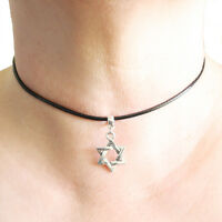 Star of David Charm Pendant Choker Necklace with Black Cord