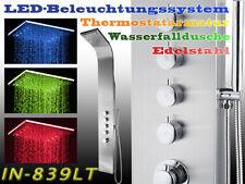 839LT LED Edelstahl Duschpaneel,  DUSCHSÄULE, Wasserfall, REGENDUSCHE,Thermostat