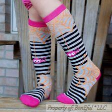 BonEful Boutique RTS NEW GIRL 4 6 KNEE SOCKS Black Pink Orange Stripe Halloween