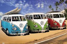 VOLKSWAGON VW KOMBI VANS POSTER (100x140cm) BEACH CALIFORNIA CAMPERVAN COMBI PIC