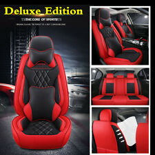 Luxury PU Leather Full Set 5-Seats Car Front+Rear Seat Cover Cushions + Pillows