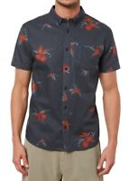 Jack O'Neill Mens Shirt Gray Red Size 2XL Tahiti Floral S/S Button Down $65 198