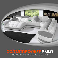 Miami Contemporary Leather Sectional Sofa Set - Curved Modern Design White/ Grey