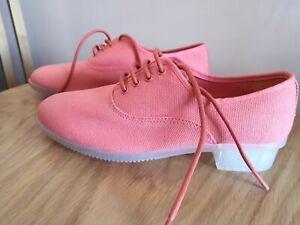 New Camper Lace up Brogue Coral Orange Pink Canvas Low Heel Shoes UK 3 EUR 36