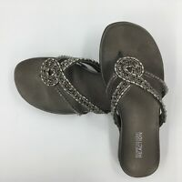 Sandals Kenneth Cole REACTION size 6.5 M Glam Life beaded pewter original box