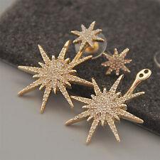 CH 1 PCS Women Lady Crystal Rhinestone Dangle Gold Star Ear Stud Earring Jewelry