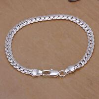 Men's Silver Plated New Snake Chain 5mm Width Bangle Jewelry Trendy Bracelet _HO
