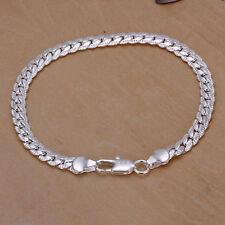 Bracciale da uomo in argento placcato nuovo con catena a serpente 5mm di larg IT
