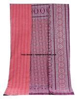 Ajrakh Kantha Quilt Cover Bedspread Indian Reversible Blanket Bedding Throw